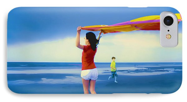 Children Playing On The Beach IPhone Case by Vizual Studio