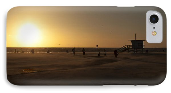 Windy Sunset At Santa Monica Beach Phone Case by Oscar Karlsson
