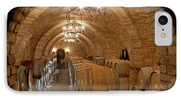 Wine Barrels In A Winery IPhone Case by Peter Menzel