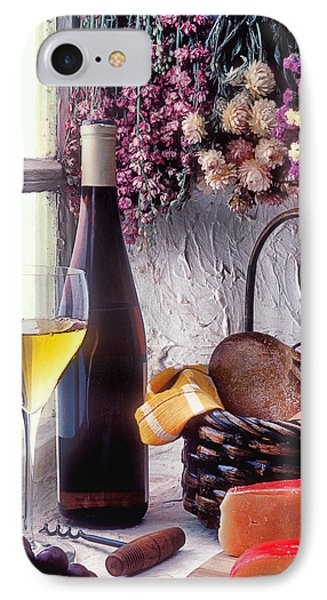 Wine Bottle With Glass In Window IPhone Case by Garry Gay