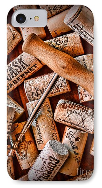 Wine Corks With Corkscrew Phone Case by Paul Ward