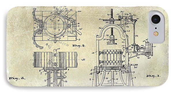 Wine Press Patent 1903 IPhone Case by Jon Neidert