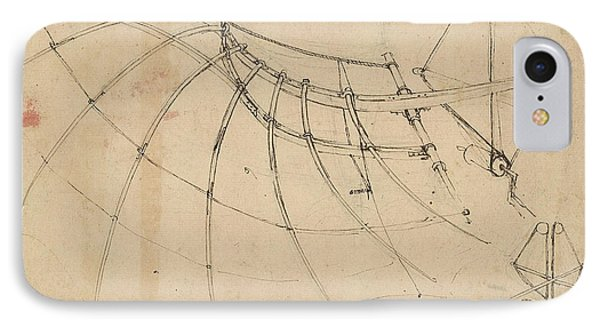 Wing Covered With Cloth And Moved By Means Of Crank Winch Below Right Detail Of Winch Phone Case by Leonardo Da Vinci