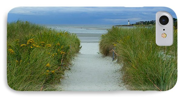 Wingaersheek Beach Path And Annisquam Lighthouse IPhone Case by Kristen Fox