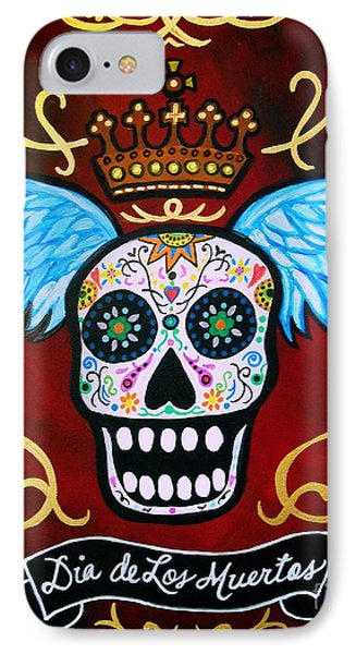IPhone Case featuring the painting Winged Muertos by Pristine Cartera Turkus