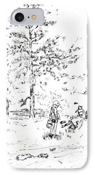 Winnie The Pooh Goes On A Picnic   After E H Shepard IPhone Case by Maria Hunt