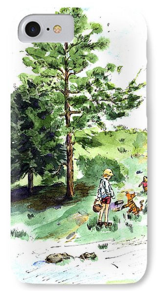 Winnie The Pooh With Christopher Robin After E H Shepard IPhone Case by Maria Hunt