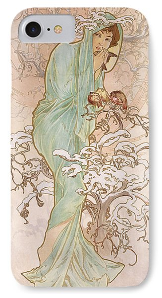 Winter IPhone Case by Alphonse Marie Mucha