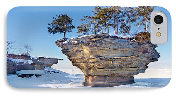 Winter At Port Austin's Turnip Rock Phone Case by Craig Sterken