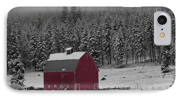 Winter Barn In Red IPhone Case by Mark Kiver
