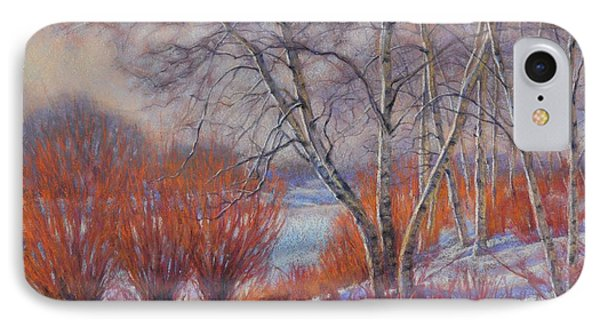 Winter Birches And Red Willows 1 IPhone Case