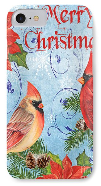 Winter Blue Cardinals-merry Christmas Card IPhone Case by Jean Plout