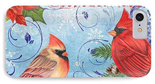 Winter Blue Cardinals-merry Christmas IPhone Case