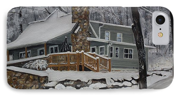 IPhone Case featuring the painting Winter - Cabin - In The Woods by Jan Dappen