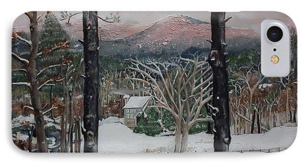 Winter - Cabin - Pink Knob IPhone Case by Jan Dappen