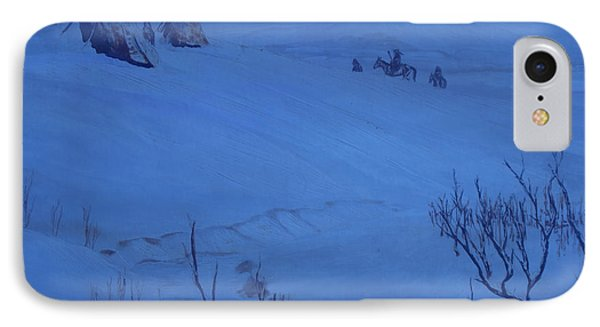 IPhone Case featuring the painting Winter Camp In Blue by Anastasia Savage Ealy