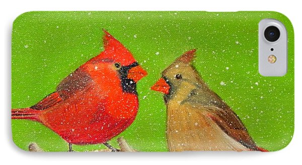 Winter Cardinals IPhone Case by Shelia Kempf
