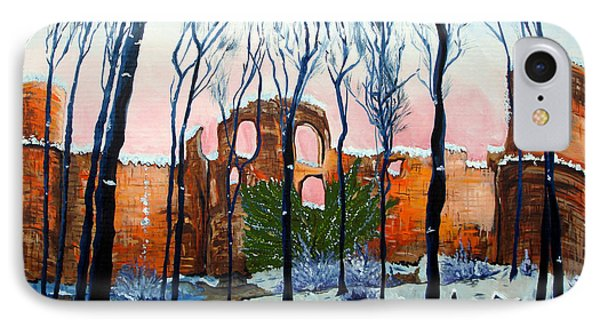 IPhone Case featuring the painting Winter Castle by Daniel Janda