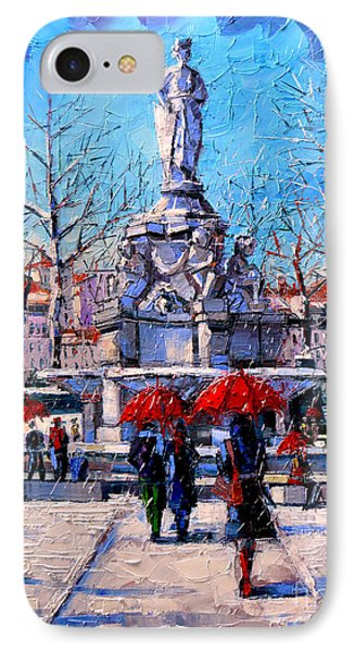 Winter City Scene - The Square  Marshal Lyautey In Lyon - France IPhone Case by Mona Edulesco