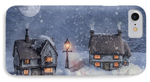 Winter Cottages In Snow IPhone Case by Amanda Elwell