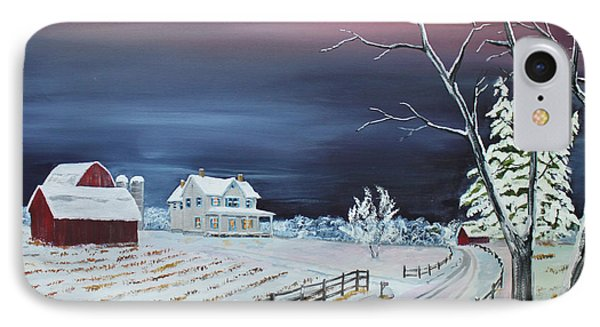 IPhone Case featuring the painting Winter Dusk by Jack G  Brauer