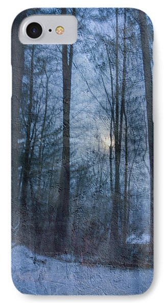 Winter Early Morning Setting Moon IPhone Case by Betty  Pauwels