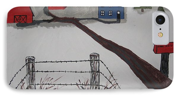 IPhone Case featuring the painting Winter Farm by Jeffrey Koss