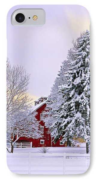 Winter Farm Scene Phone Case by Timothy Flanigan