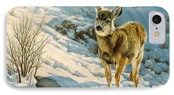 Winter Fawn - Mule Deer IPhone Case