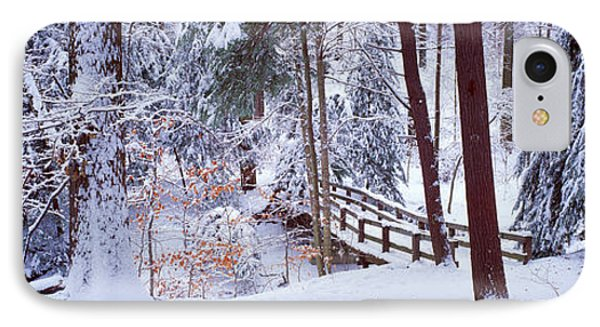 Winter Footbridge Cleveland Metro IPhone Case by Panoramic Images