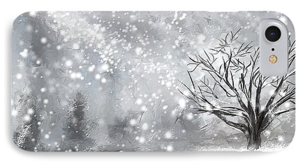 Winter- Four Seasons Painting IPhone Case by Lourry Legarde