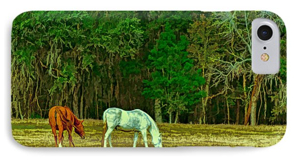 Winter Grazing In North Florida IPhone Case by Lewis Mann