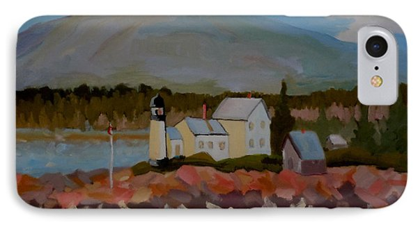 IPhone Case featuring the painting Winter Harbor Light by Francine Frank