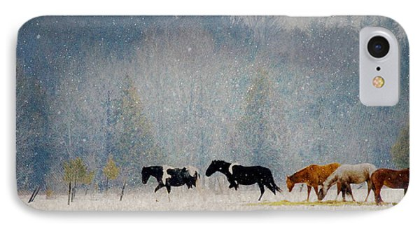 IPhone Case featuring the photograph Winter Horses by Ann Lauwers