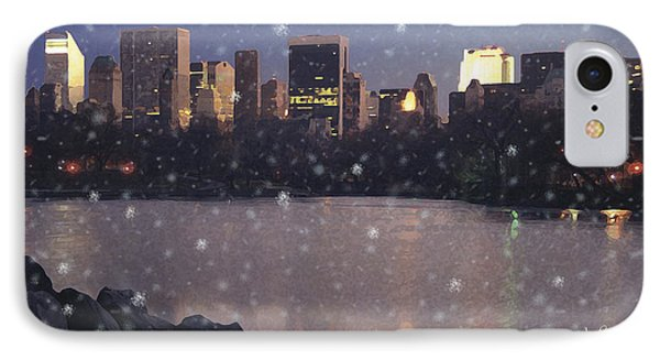 IPhone Case featuring the digital art Winter In Central Park by David Klaboe