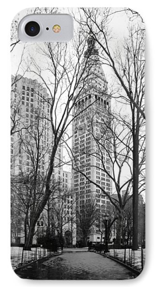 Winter In Madison Square Park - New York City IPhone Case by Erin Cadigan
