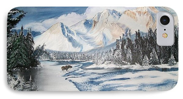 IPhone Case featuring the painting Winter In The Canadian Rockies by Sharon Duguay
