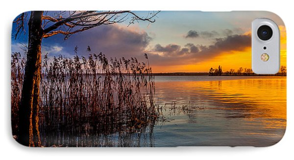 Winter Lake Sunset With A Tree Lighted In Red And Orange  IPhone Case by Julis Simo