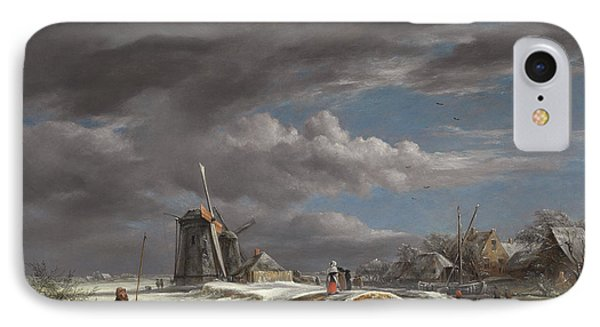 Winter Landscape With Figures On A Path IPhone Case by John Constable