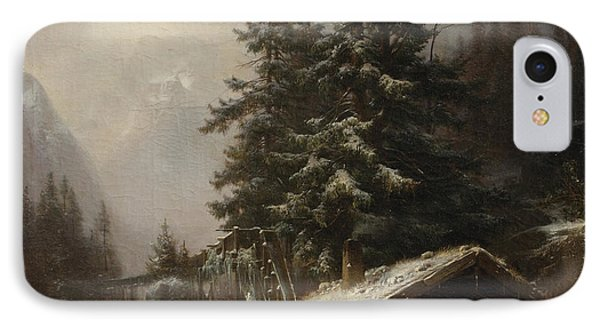 Winter Landscape With Figures Resting Near A Water Mill IPhone Case by Heinrich Hofer