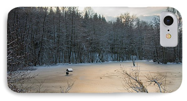 Winter Landscape With Frozen Lake And Warm Evening Twilight Phone Case by Matthias Hauser