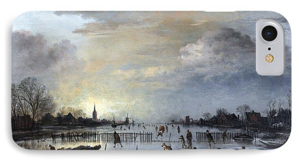 IPhone Case featuring the painting Winter Landscape With Skaters by Gianfranco Weiss