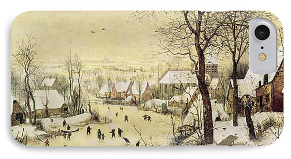 Winter Landscape With Skaters And A Bird Trap IPhone Case by Pieter Bruegel the Elder