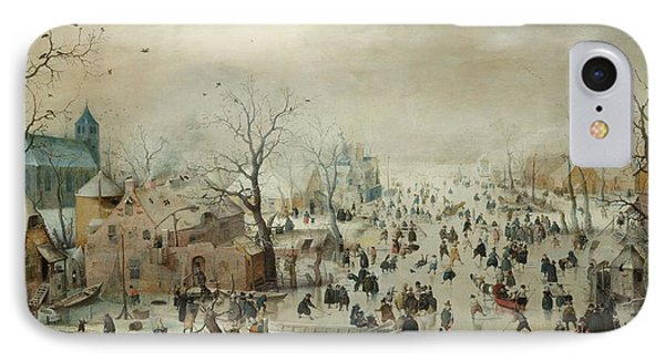Winter Landscape With Skaters IPhone Case