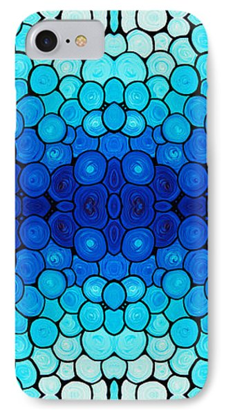 Winter Lights - Blue Mosaic Art By Sharon Cummings IPhone Case by Sharon Cummings