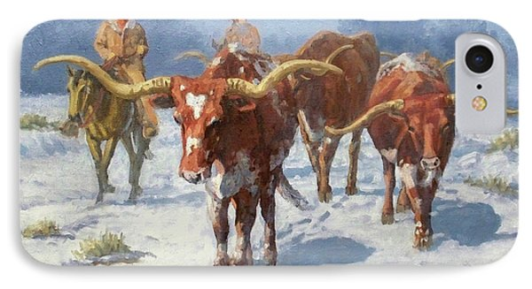 Winter Longhorns Phone Case by Randy Follis