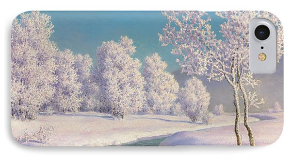Winter Morning In Engadine IPhone Case by Ivan Fedorovich Choultse