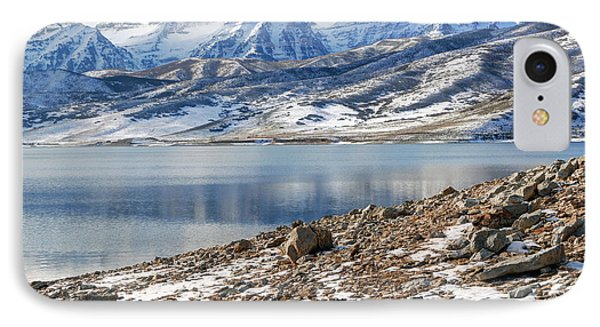Winter Mt. Timpanogos And Deer Creek Reservoir IPhone Case by Gary Whitton