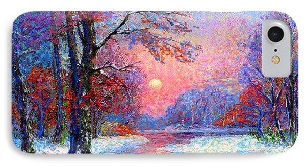 Winter Nightfall, Snow Scene  IPhone Case by Jane Small