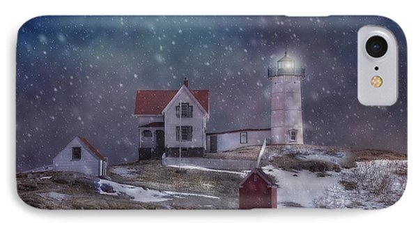 Winter Nights At Nubble Light IPhone Case by Joann Vitali